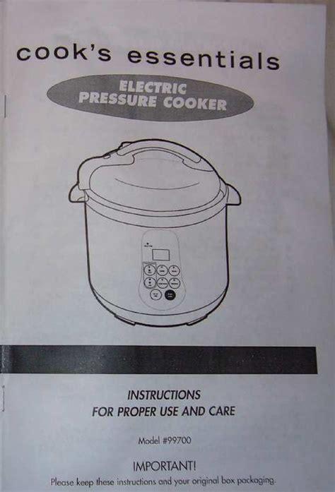 Cooks Essentials Electric Pressure Cooker Manual