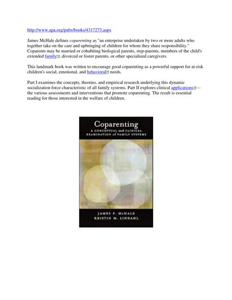 Coparenting A Conceptual And Clinical Examination Of Family Systems