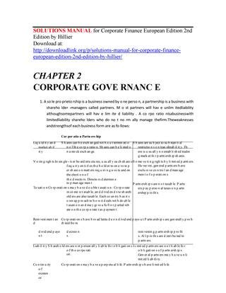 Corporate Finance Hillier 2nd Edition Solutions