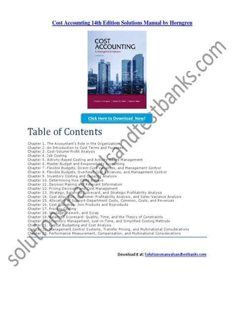 Cost Accounting 13th Edition Solution Manual Horngren