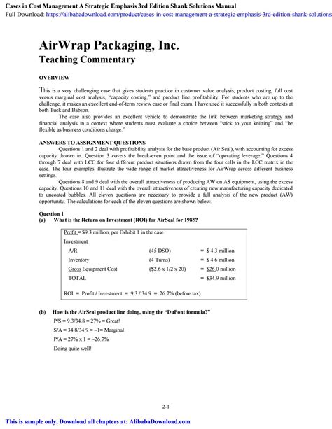 Cost Management A Strategic Emphasis Shank Solutions Manual