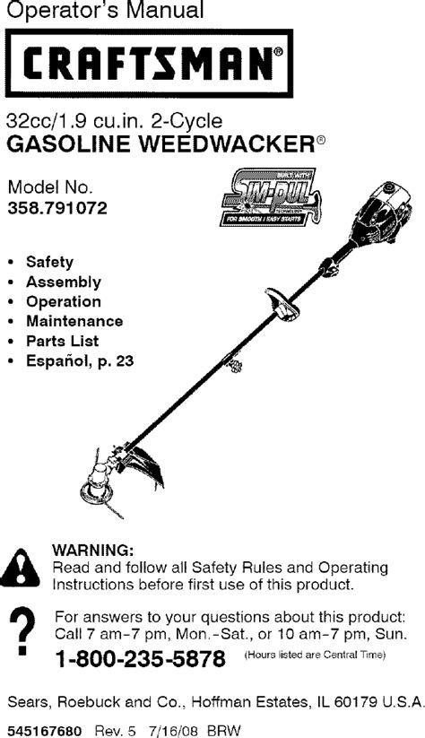 Craftsman 32cc Weed Wacker Repair Manual