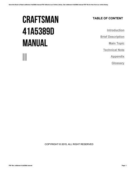 Craftsman 41a5389d Manual