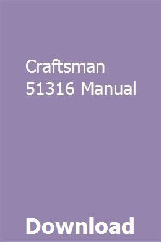 Craftsman 51316 Manual