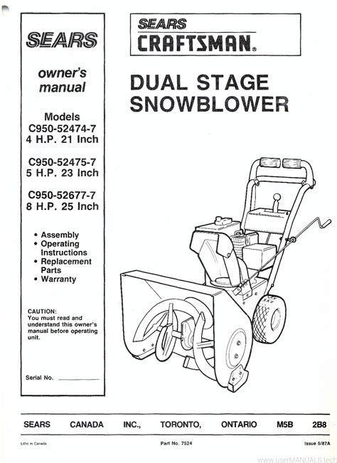 Craftsman Snowblowers Manual