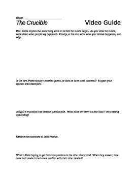 Crucible Movie Viewing Guide Answers