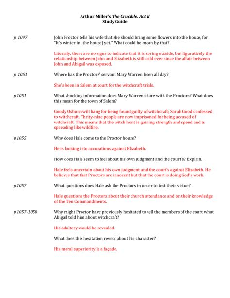 Crucible Study Guide Act 3 Answer