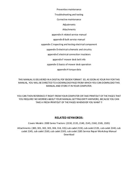 Cub Cadet 2140 Tractor Full Service Repair Manual