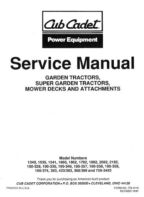 Cub Cadet 2182 Service Manual