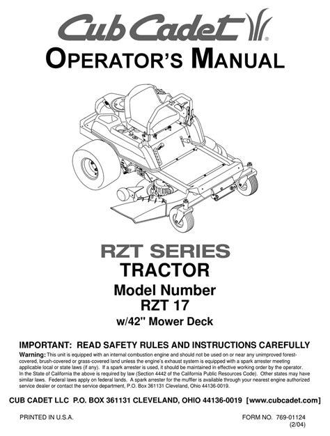 Cub Cadet Rzt 17 Service Manual