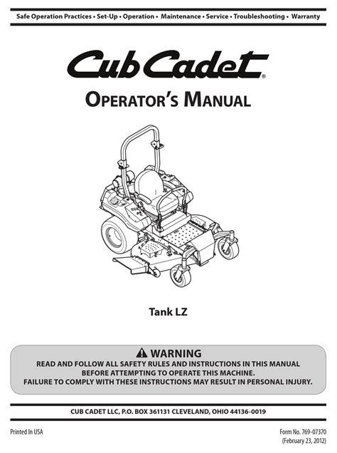 Cub Cadet Tank 48 Commercial Repair Manual