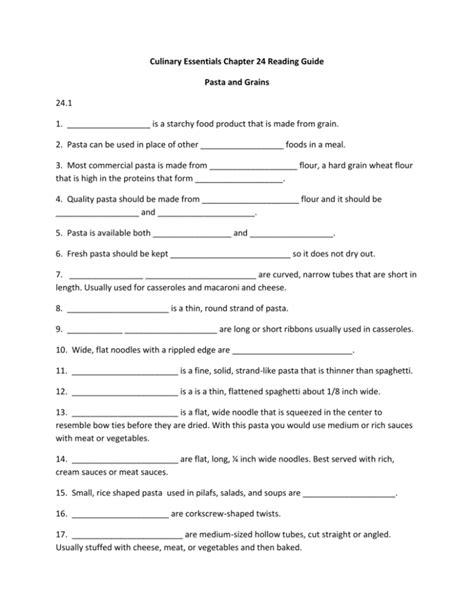Culinary Essentials Study Guide