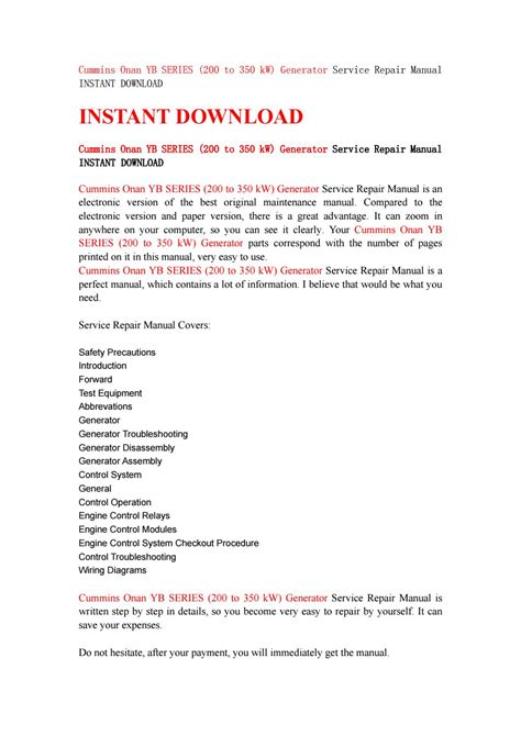 Cummins Onan Yb Series 200 To 350 Kw Generator Service Repair Manual