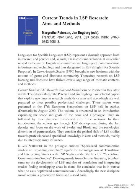 Current Trends In Lsp Research Aims And Methods Linguistic Insights