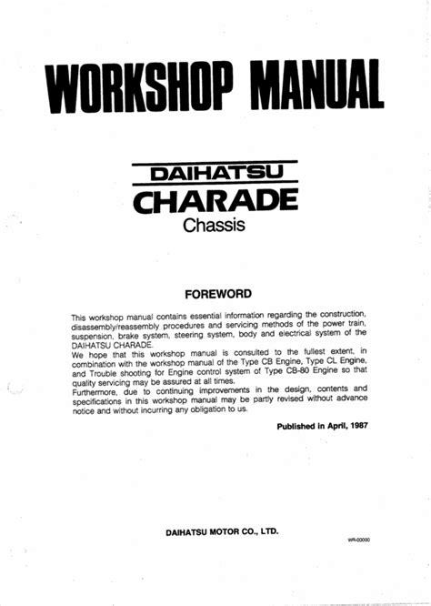 Daihatsu Charade Workshop Repair Manual