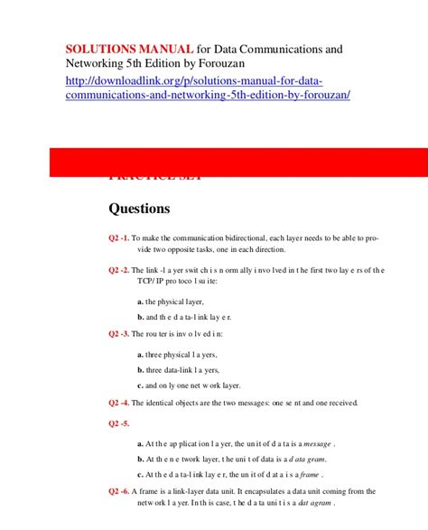 Data Communications And Networking Solution Manual