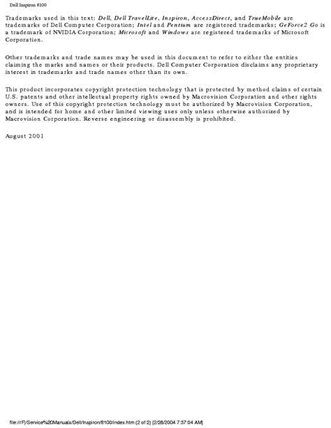 Dell Inspiron 8100 Repair Manual