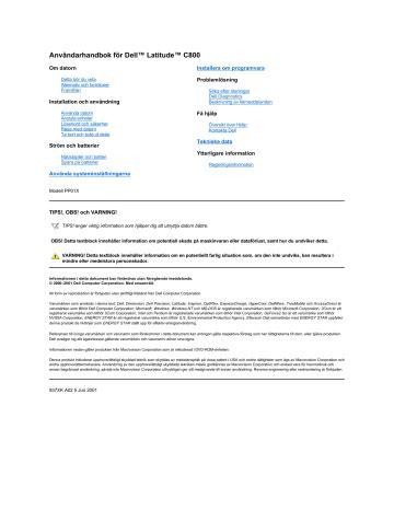 Dell Latitude C800 User Manual
