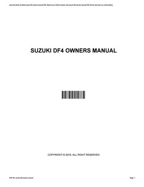 Df4 Owners Manual