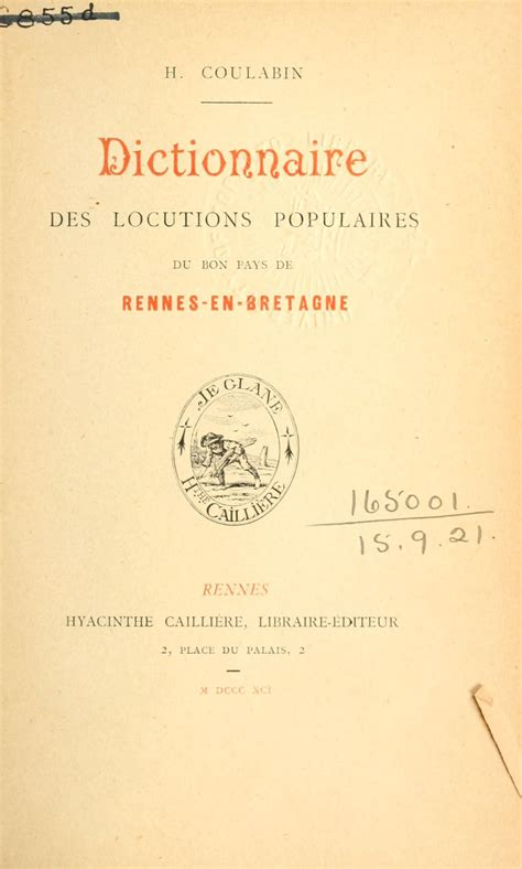 Dictionnaire des locutions populaires du bon pays de Rennes-en-Bretagne