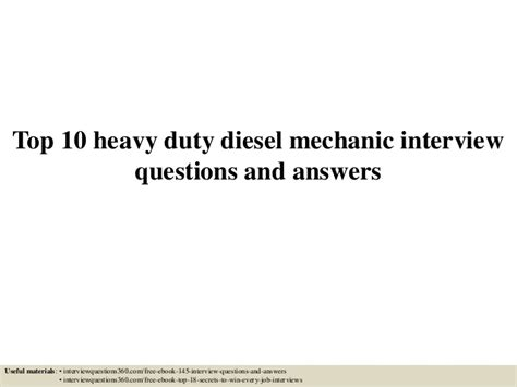 Diesel Mechanic Interview Questions And Answers