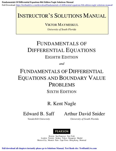 Differential Equations 4th Edition Nagle Solution Manual
