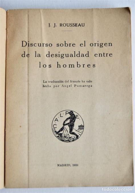 Discurso Sobre El Origen De La Desigualdad Entre Los Hombres J J Rousseau