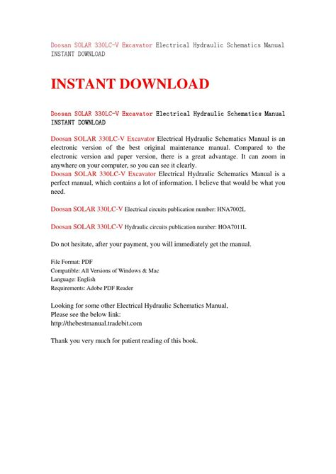 Doosan Solar 330lc V Excavator Electrical Hydraulic Schematics Manual