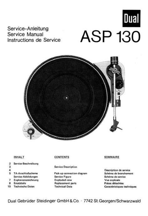 Dual Asp 130 Turntable Service Manual