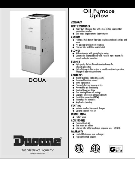 Ducane Oil Furnace Manual