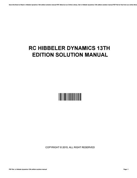 Dynamics 13th Edition Solution Manual