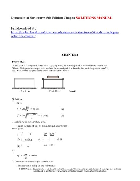 Dynamics Of Structures Solution Manual Anil Chopra