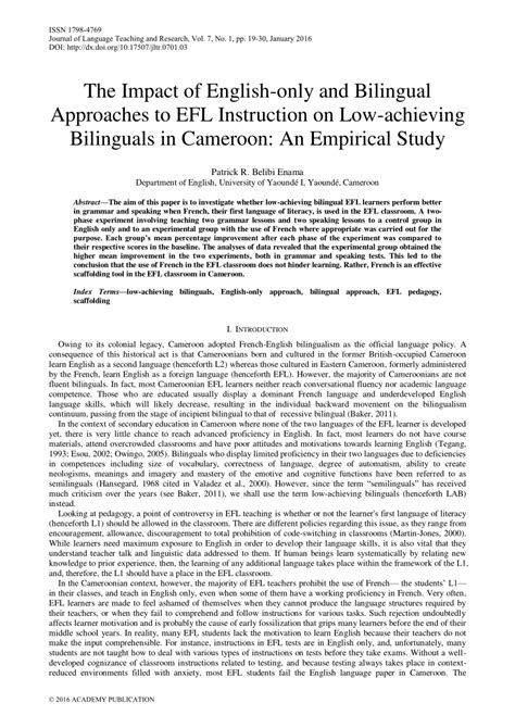Effect of Bilingual Approach on English Language Performance: An Experimental Study