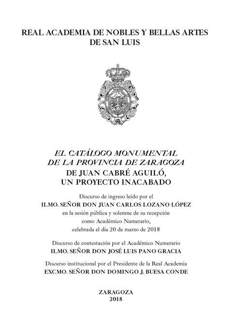 El Catálogo Monumental de la provincia de Zaragoza de Juan Cabré Aguiló, un proyecto inacabado