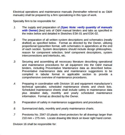 Electrical Operation And Maintenance Manual
