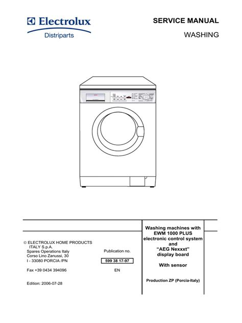 Electrolux Zanussi Washing Machine Instruction Manual