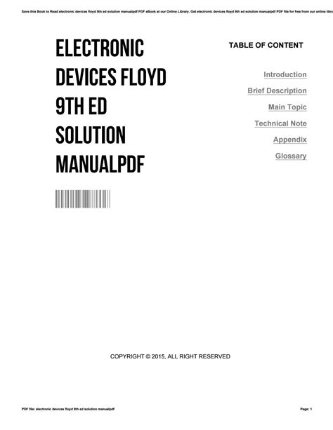 Electronic Devices 9th Edition Floyd Solution