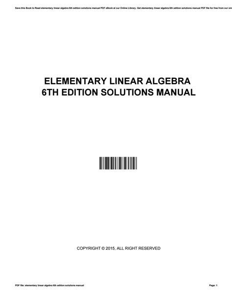 Elementary Linear Algebra 6th Edition Solution Manual