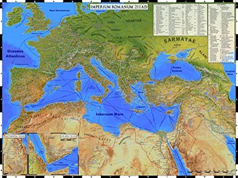Empire Romain 211 Ad Enroule Carte De L Empire Romain