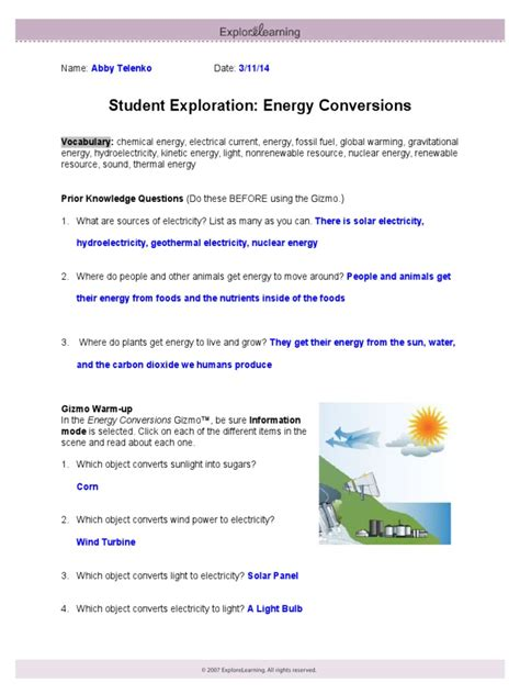 Energy Conversions Gizmo Answers