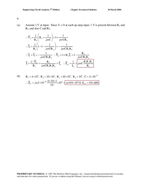 Engineering Circuit Analysis By Hayt 8e Solution
