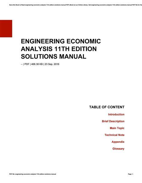 Engineering Economic Analysis 11th Solution Manual Edition