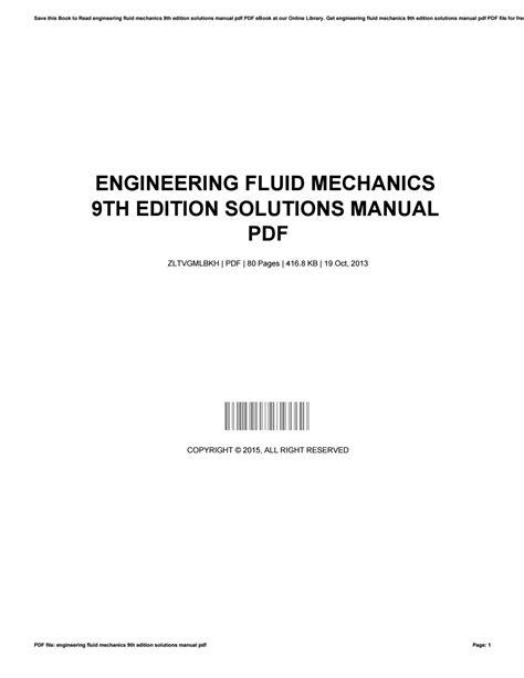 Engineering Fluid Mechanics Solution Manual 9th Edition