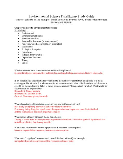 Environmental Science Final Exam Answer Study Guide