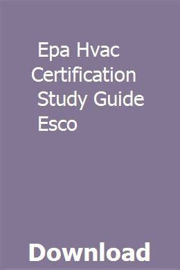 Epa Hvac Certification Study Guide Esco