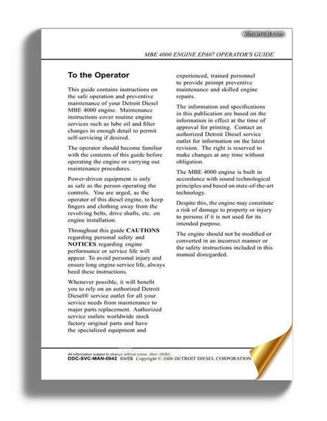Epa07 Mbe 4000 Operator Manual