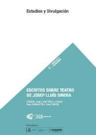 Escritos sobre teatro de Josep Lluís Sirera (Libros de la Academia)