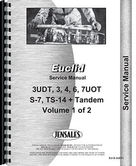 Euclid 3 Uot Tractor Scraper Manual