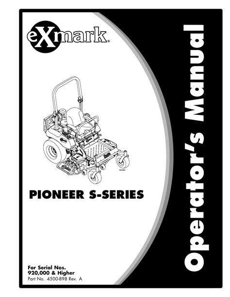 Exmark Pioneer Owners Manual