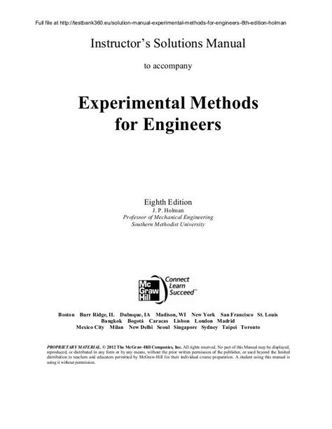 Experimental Methods For Engineers 8th Edition Solution Manual